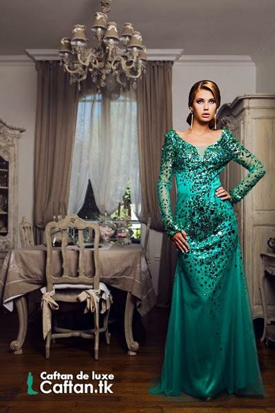 Robe de soirée perlée verte d'eau 2014
