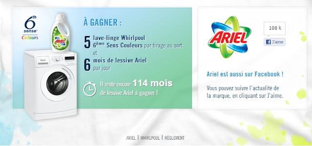 5 lave-linges Whirlpool + 6 mois de lessive Ariel à gagner
