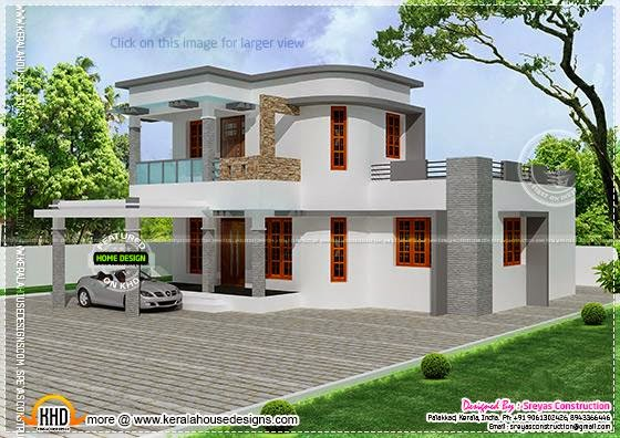 flat with curvy mix roof house kerala home design and