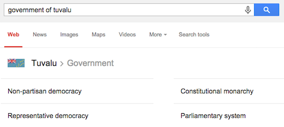Google Knowledge Graph Shows Forms of Government