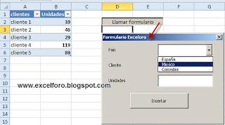 Crear un formulario (UserForm) en Excel.
