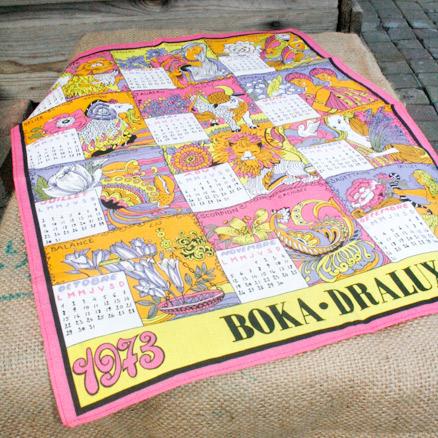 La puce au grenier d coration vintage torchon kitsch calendrier 1973 - Torchon calendrier ...