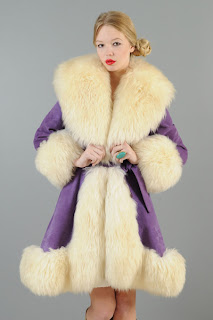 Vintage 1960's Lilli Ann purple shearling coat with large fluffy cream colored collar, cuffs and hem.