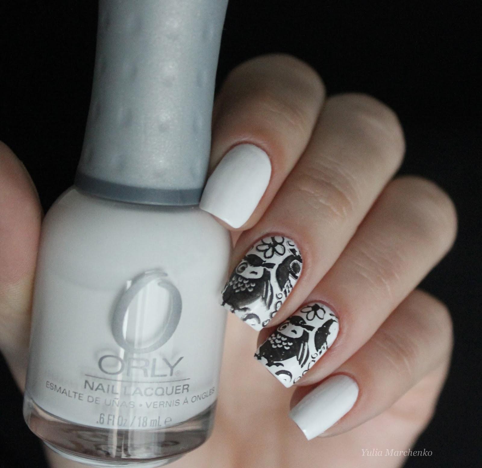 Черно белые ногти orly white out стемпинг