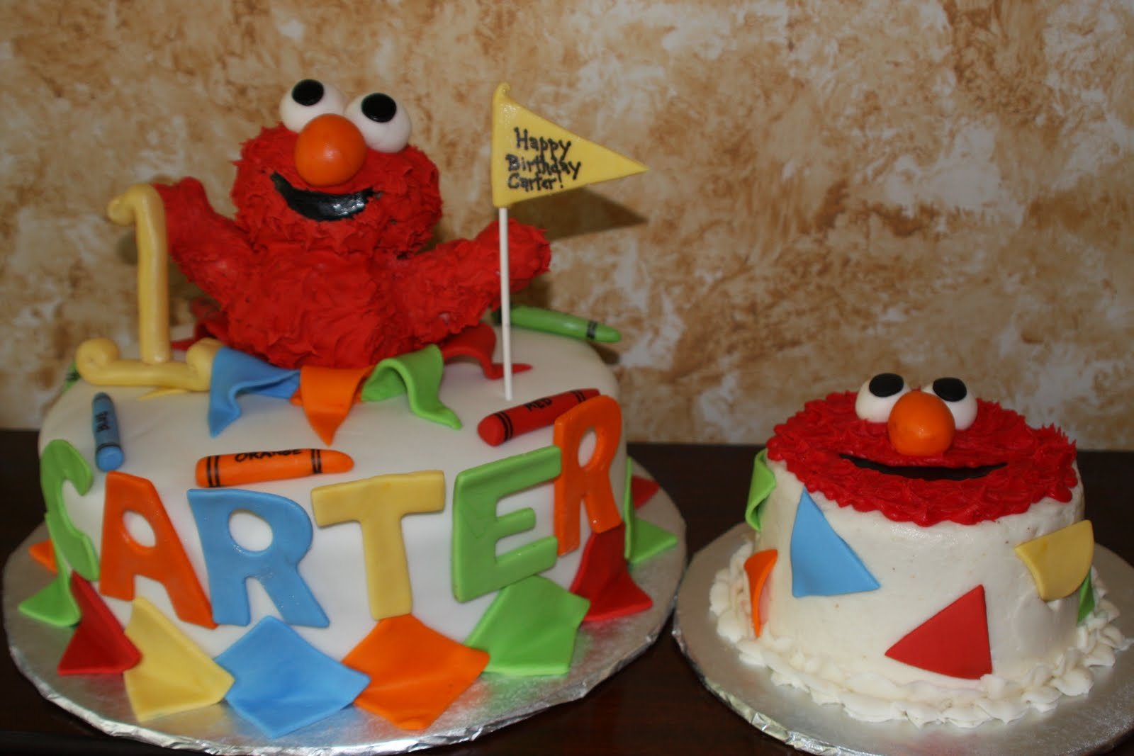 Kels Cake Creations Elmo 1st Birthday Cake and Smash Cake