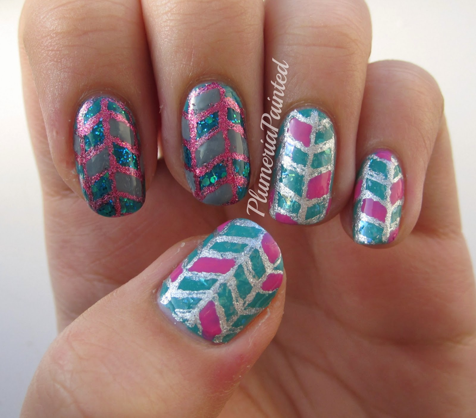 Plumeriapainted Pink Teal Herringbone Nails