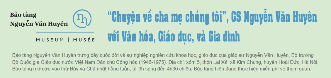 """""""Chuyện về cha mẹ chúng tôi"""", GS. Nguyễn Văn Huyên với Văn hóa, Giáo dục và Gia đình"""