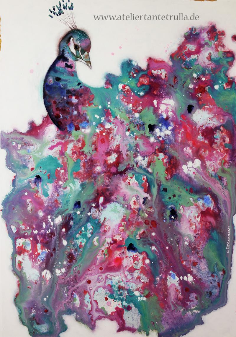 abstraktes Gemälde Pfau