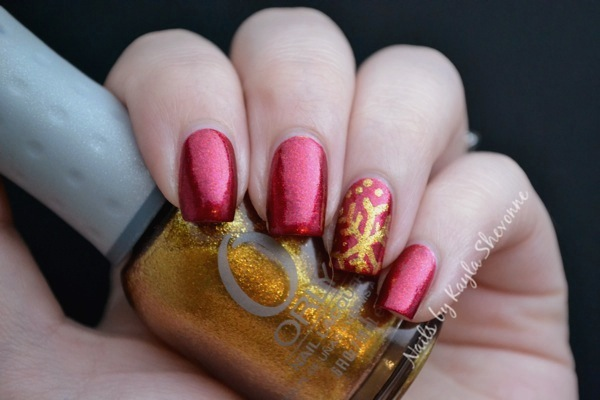 Nails By Kayla Shevonne Christmas Nail Art Red Gold Snowflakes