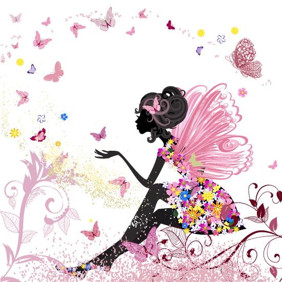 chica floral de San Valentín - Vector