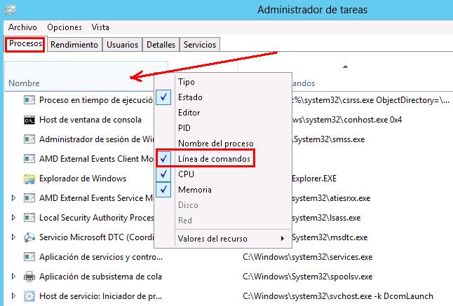Mostrar ruta de los procesos en el administrador de tareas