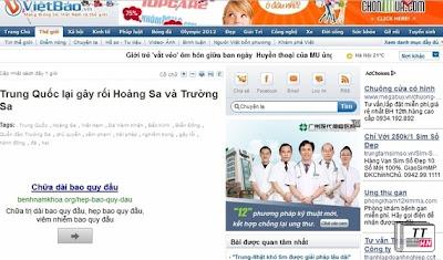 Một trong những quảng cáo phản cảm mà Vietbao.vn đính kèm sau bài viết của Petrotimes