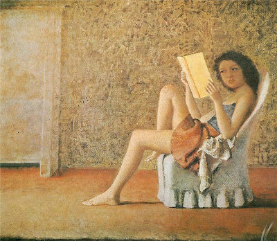 painting by polish/french painter balthus of a girl reading in a chair