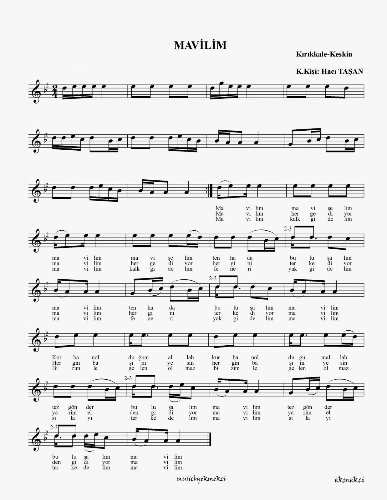 Mavilim mavişelim, türküler, notalar, türkü notaları