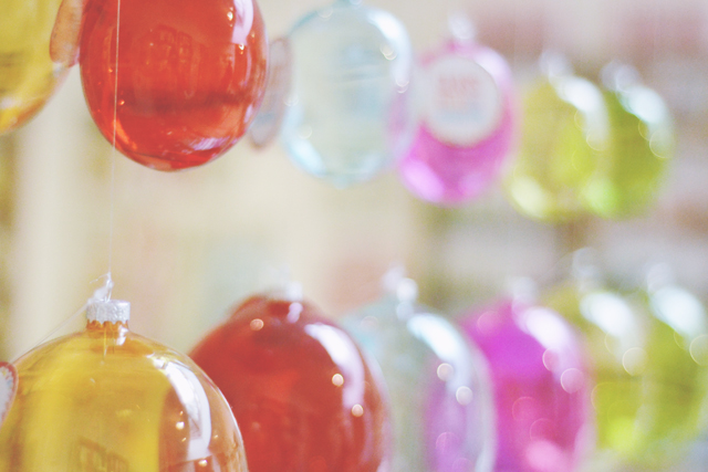 Coloured glass baubles