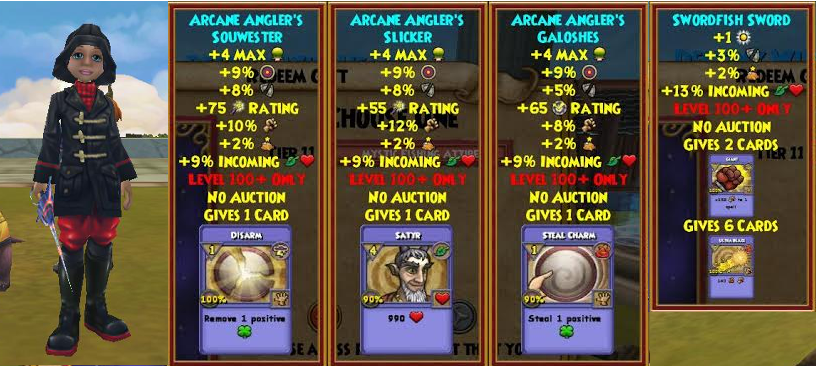 Wizard101 Mystic Fishing Bundle Best/Max Level 100 Gear