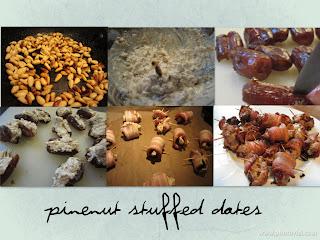 Pinenut stuffed dates wrapped in bacon