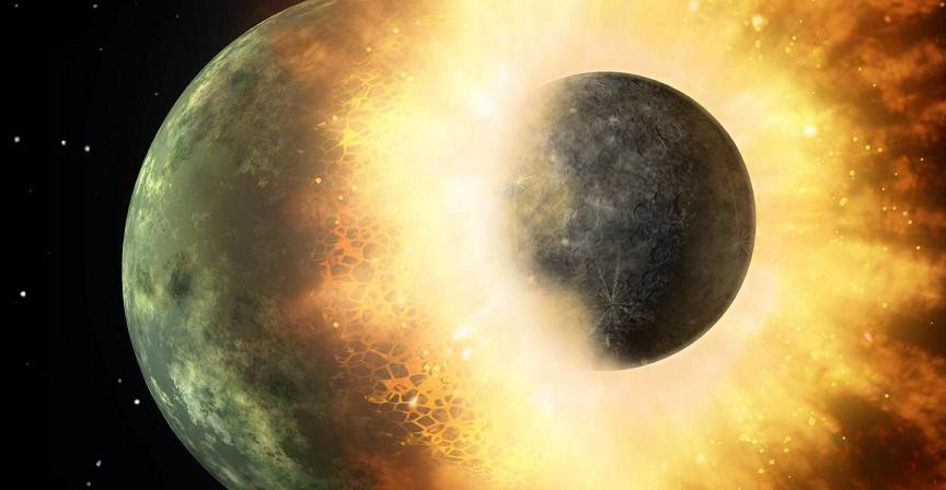 This artist's rendering shows the collision of two planetary bodies. A collision like this is believed to have formed the moon within the first 150 million years after our solar system formed. Credit: NASA/JPL-Caltech