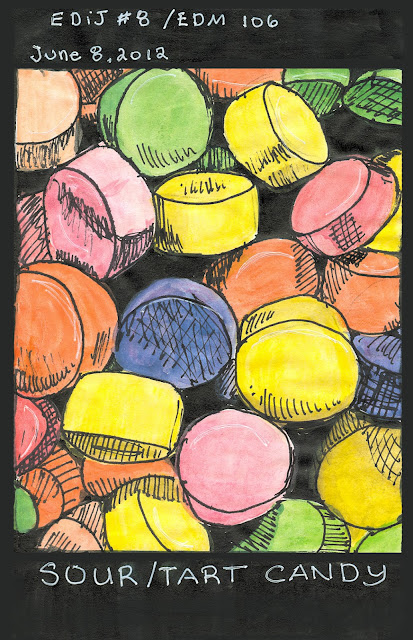 Pen & ink with watercolour sour candy rendered by ©Ana Tirolese