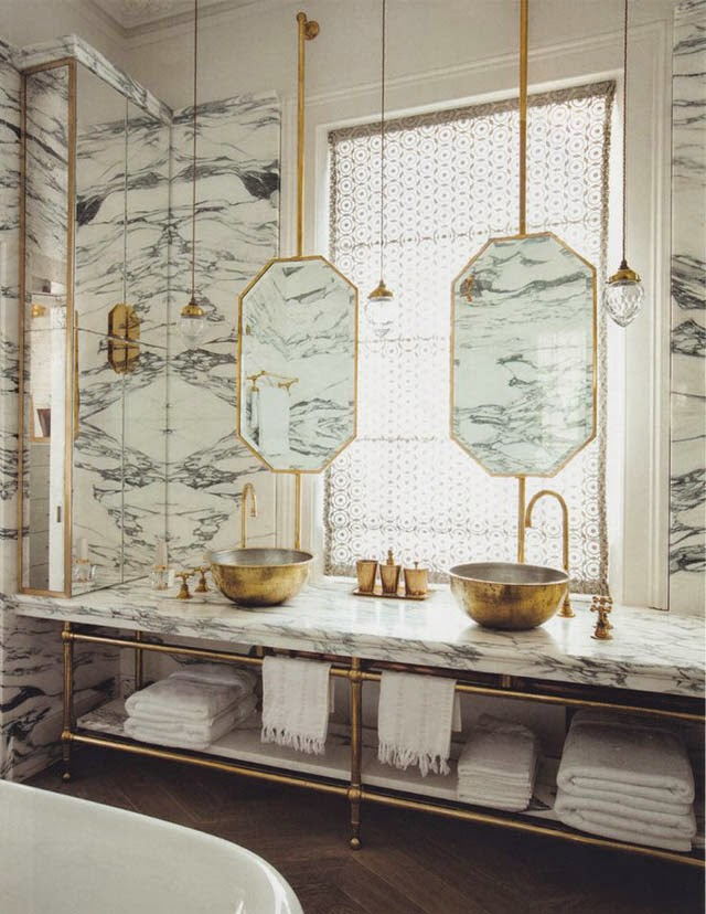 Marble, wallpaper, gold, mercury glass mirror, chandelier