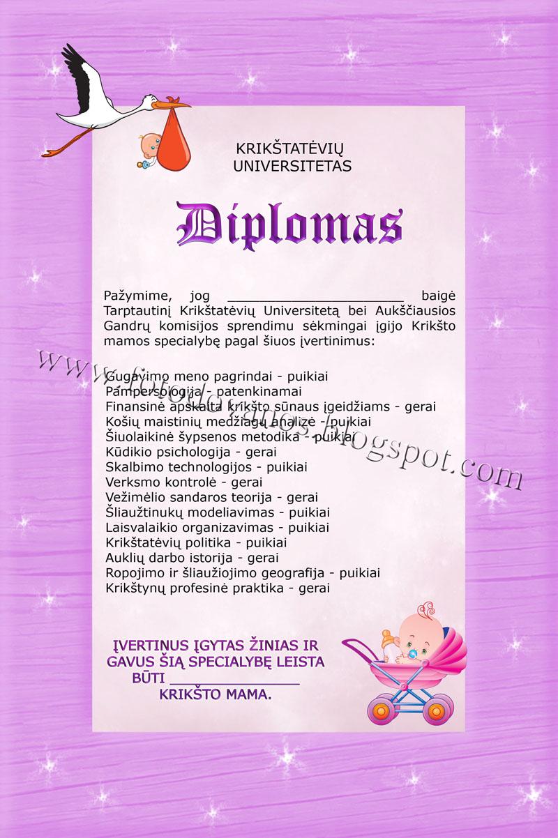 Krikstynu diplomai krikstateviams