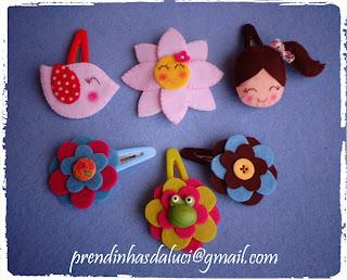 ganchos em feltro passarinho flor menina sapinho