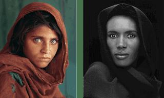 steve mccurry afghan girl near peshwar, grace jones in same pose