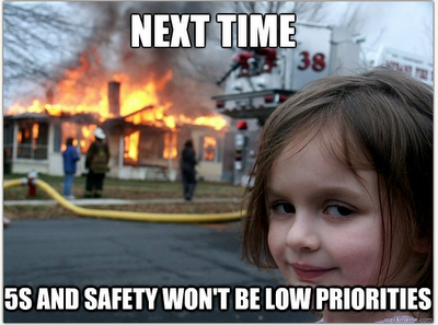 creepy little girl meme building fire 5s safety low priority lean blitz consulting lean meme mark graban