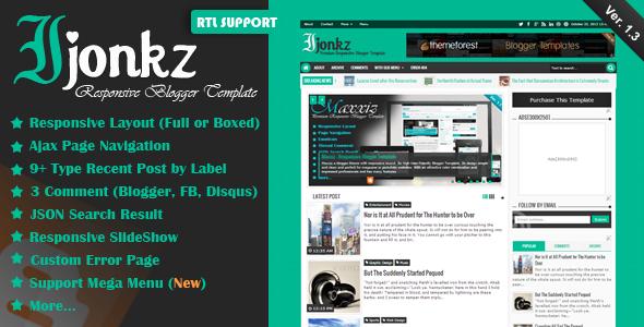 Ijonkz Responsive Magazine/News Blogger Template Free Download
