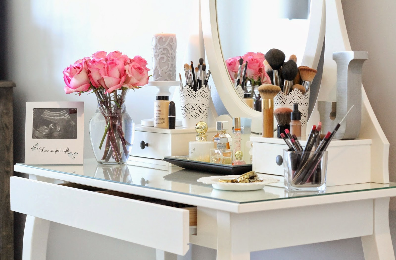 A spoonful of style my vanity and makeup favorites for Beauty table organiser