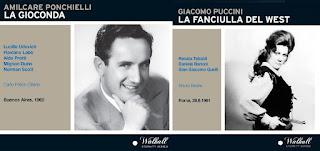 CD REVIEW: Walhall Eternity Series' releases of Amilcare Ponchielli's LA GIOCONDA (WLCD 0337) and Giacomo Puccini's LA FANCIULLA DEL WEST (WLCD 0355)