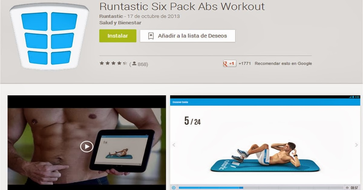 APP Runtastic Six Pack Abs Workout, avatar entrenador de abdominales.