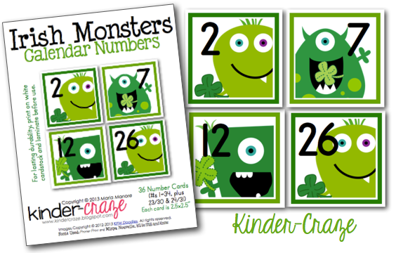 Irish Monster calendar numbers - too cute!