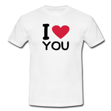 Shirt gift with I LOVE YOU message