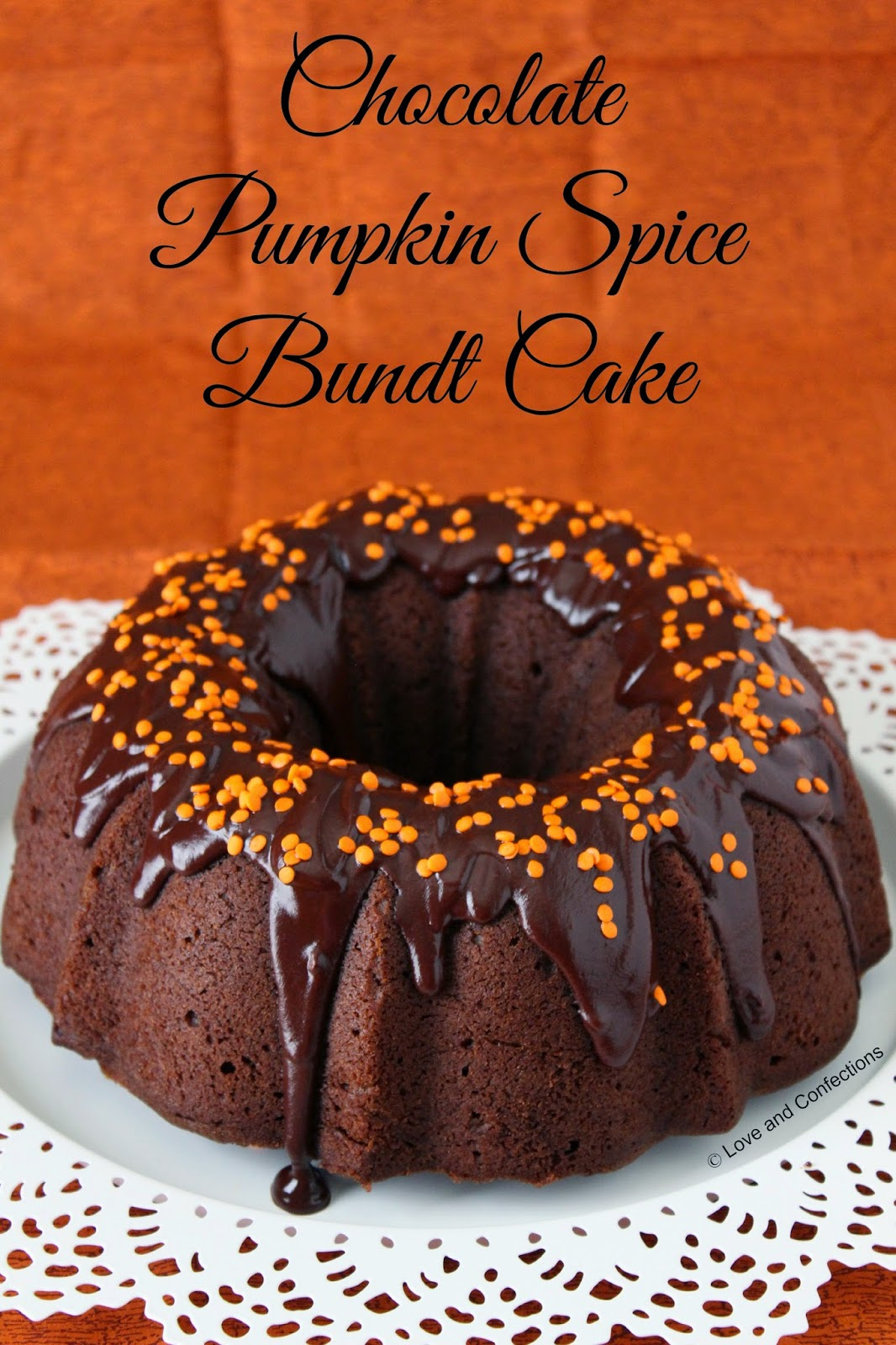Chocolate Pumpkin Spice Bundt Cake by Love and Confections