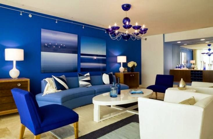 Wall paint colors for living room ideas for Blue wall living room ideas