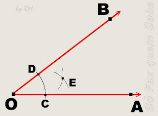 Definição do ponto E, auxiliar da construção da bissetriz de um ângulo.