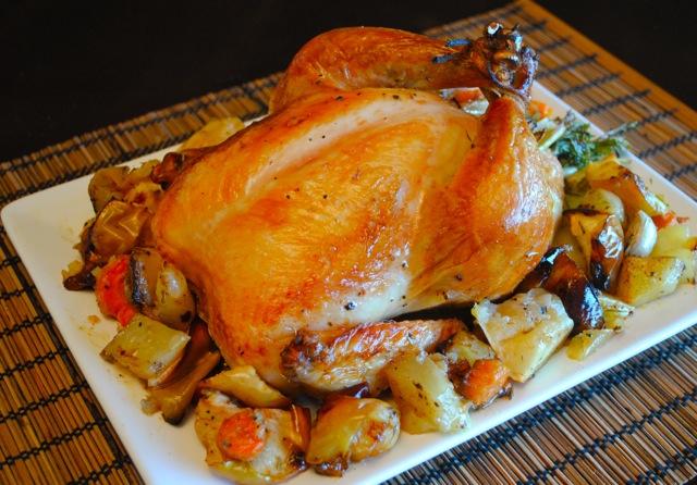 Как сделать курицу в духовке с яблоками