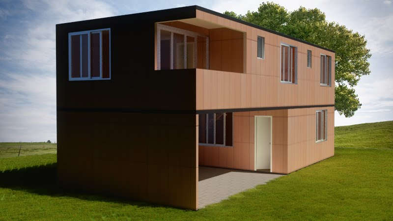 Dise o fotorealista 3d casa container propuestas - Diseno casa 3d ...