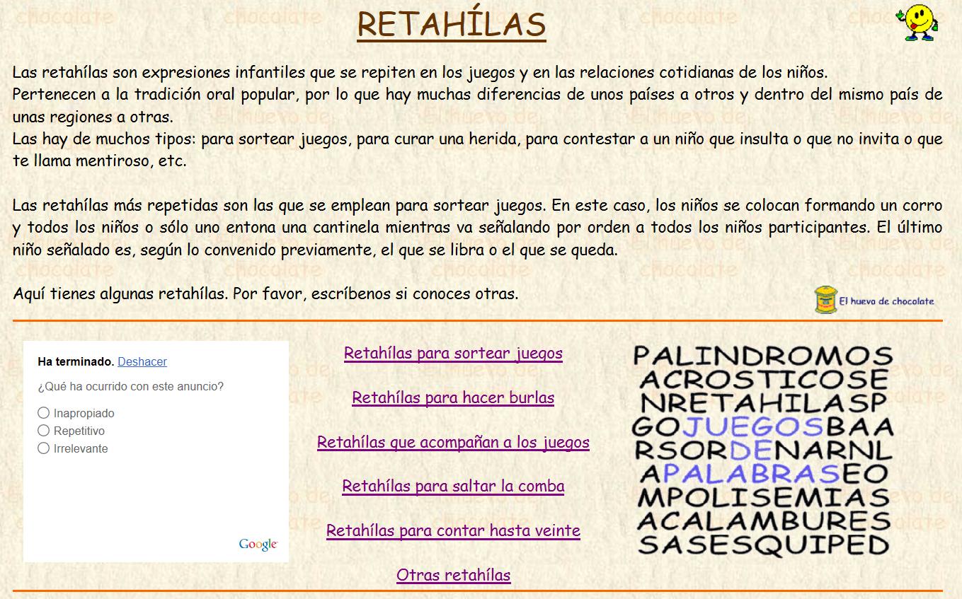 http://www.elhuevodechocolate.com/retahilas.html