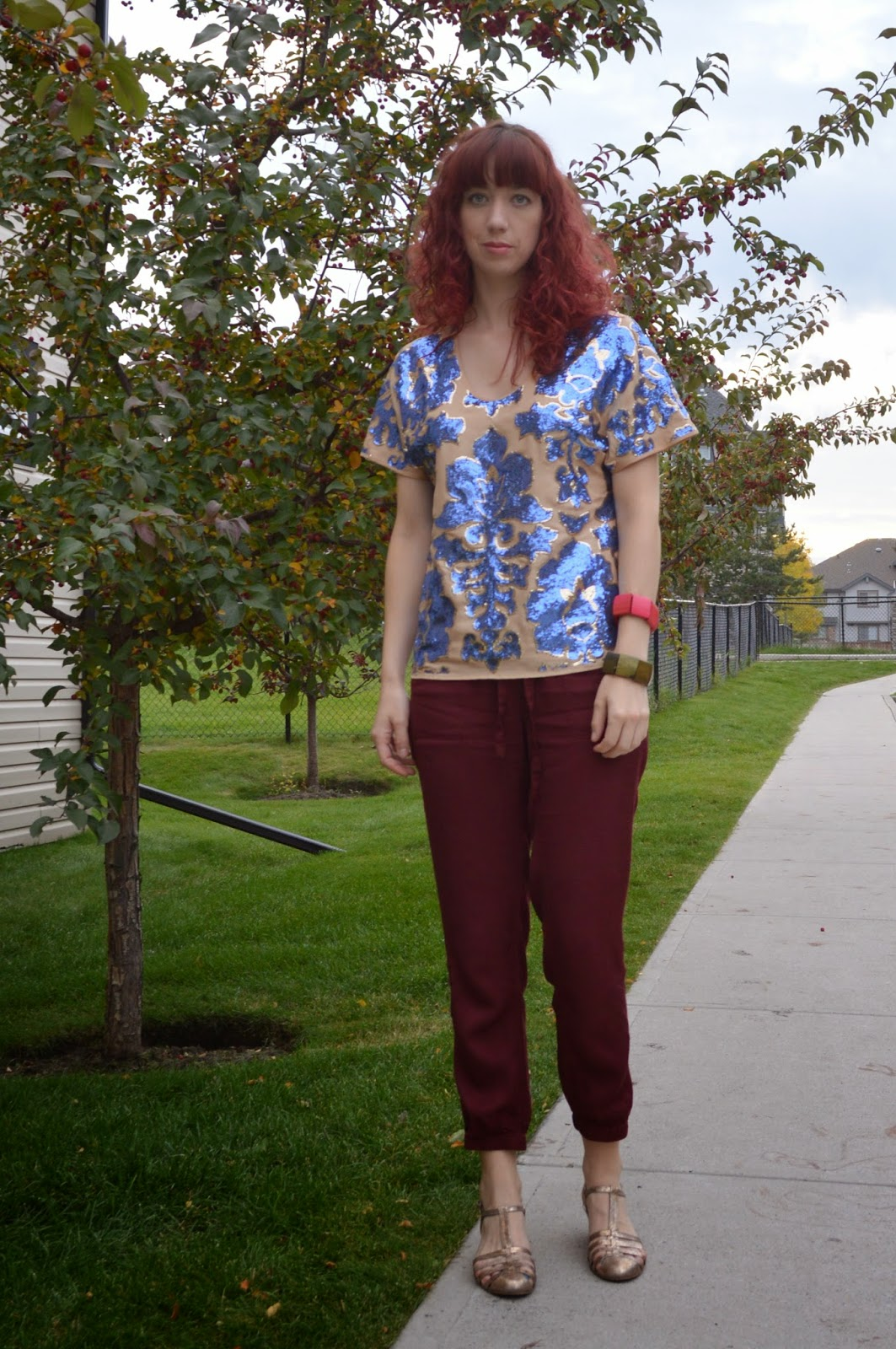 fall fashion, sequin top, thrifted