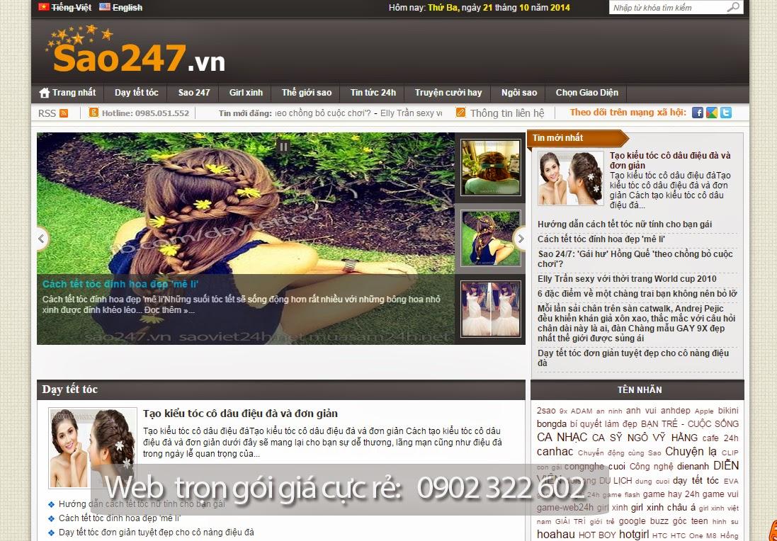 Bán website tin tức giống sao247.vn 100% giá cực rẻ 250k