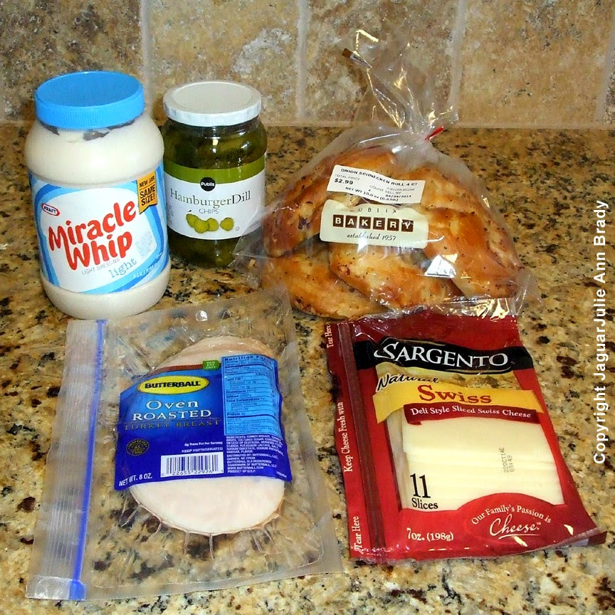 key ingredients for Pickles Swiss and Turkey on Onion Schnecken Roll