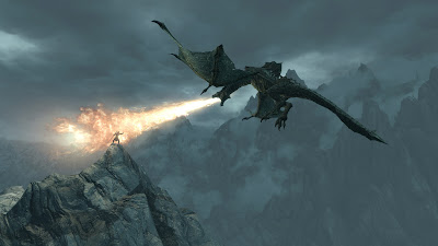 a dragon breathing fire into the dragonborn
