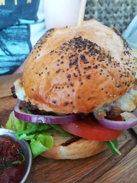Blooms Folkestone 'Blooms Burger' beef burger with freshly baked seeded bun
