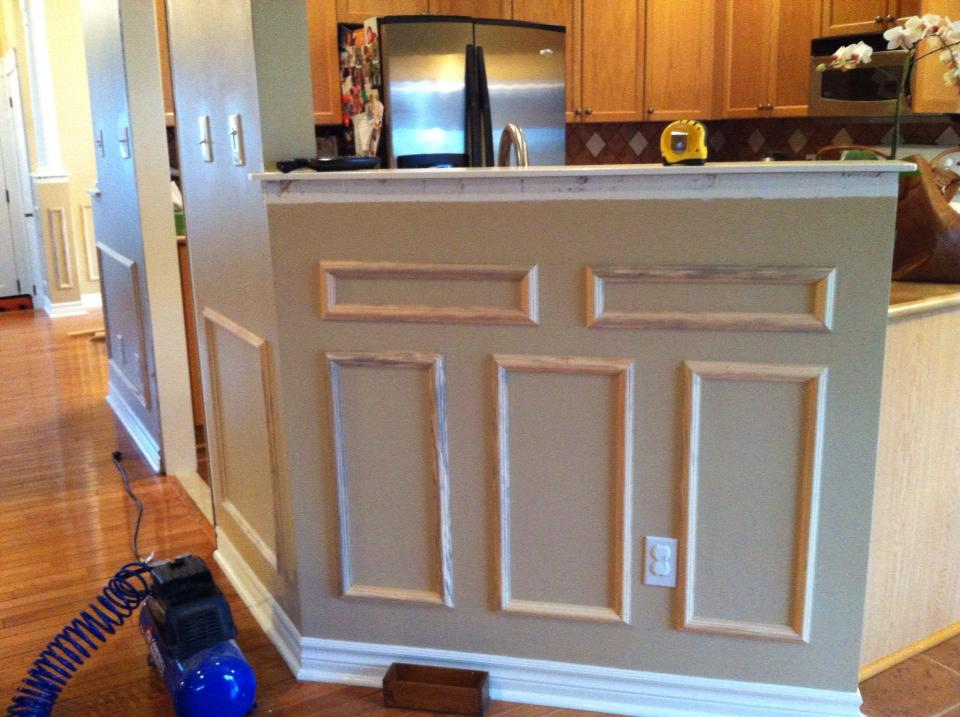 White wood transformation with wainscoting Wood paneling transformation