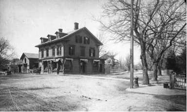 The Coolidge & Brothers store before the widening of Beacon Street