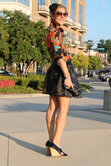 the Queen City Style, Vintage Lillie Rubin Jacket, Alyssa Nicole Skirt, BCBG Wedge Heels, Zoe Lynn & Co. Headband, Chanel Purse, Vintage Jewelry, Blinde Eyewear, Everybody Loves JoJo Bling Earrings