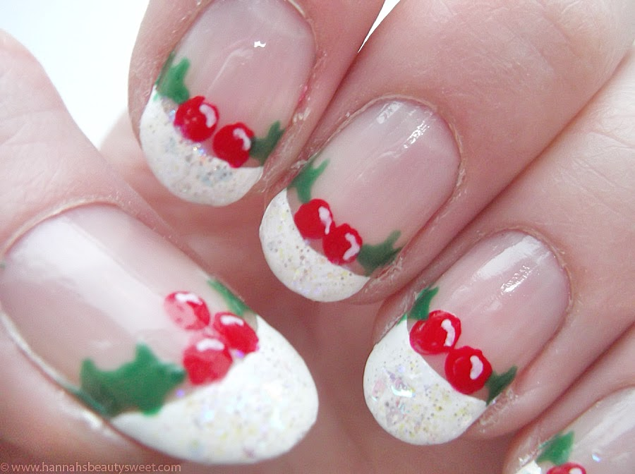 Christmas nail art, tutorial, how to, NOTD, holly, winter