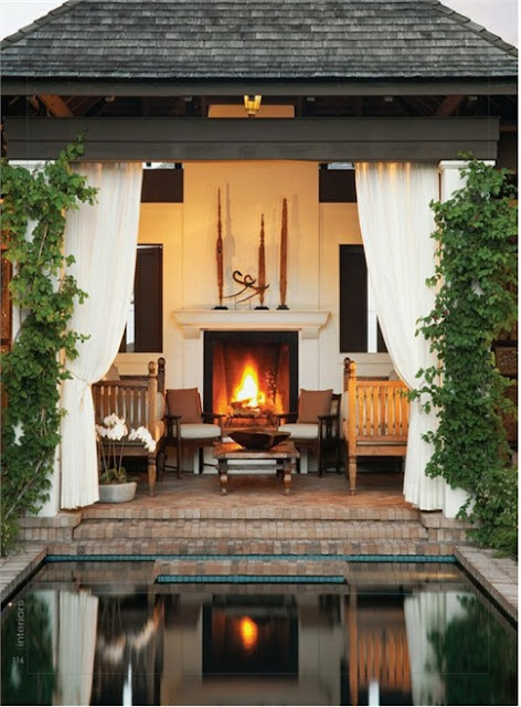 Best Outdoor Living Spaces Custom Of Pool House with Fireplace Images